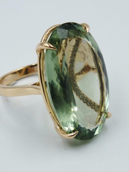 Ocean's Treasure Green Amethyst & diamond ring