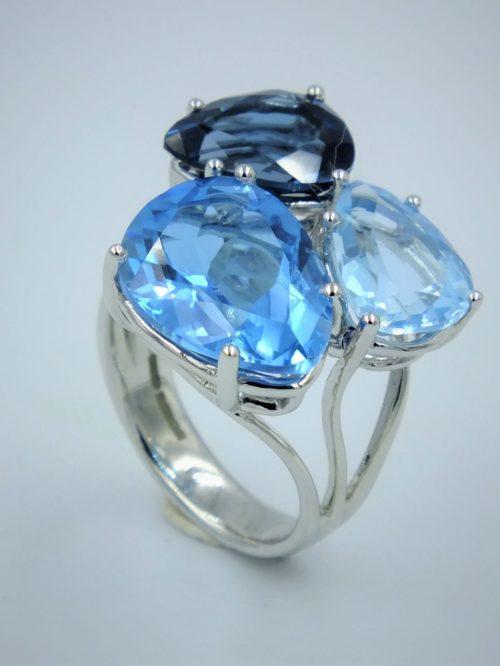 Aurora blue topaz ring