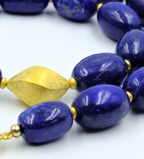 lapis ovals worn necklace detail