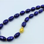 lapis ovals worn necklace