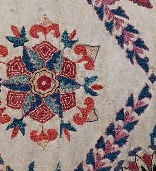 Uzbek Suzani textile close up