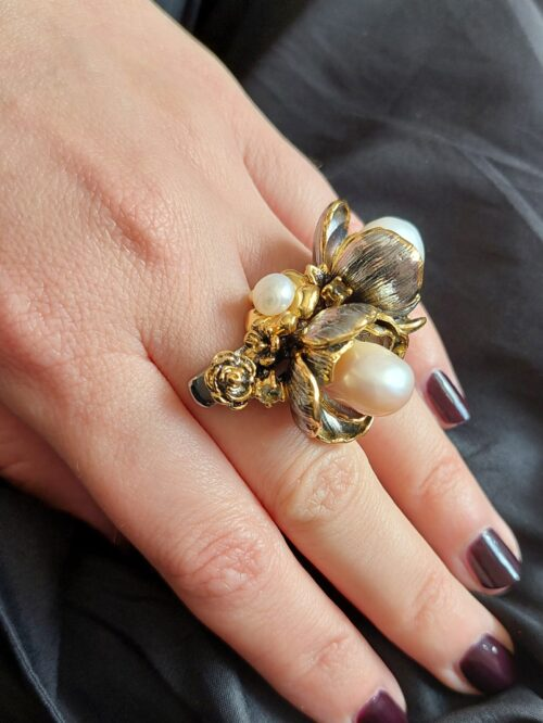 Double ring with SouthSea pearl
