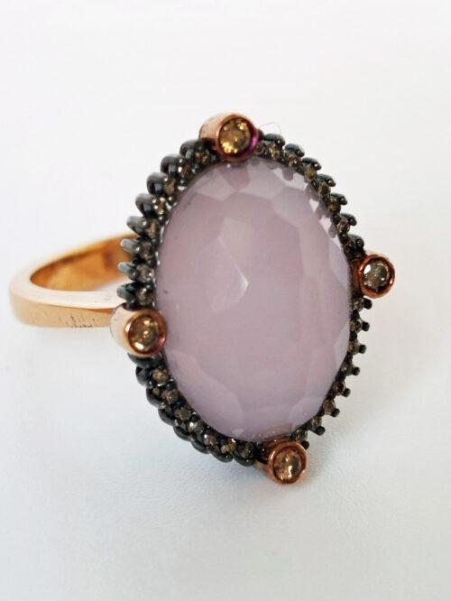 Rose Quartz & Cognac Diamond Gold Ring