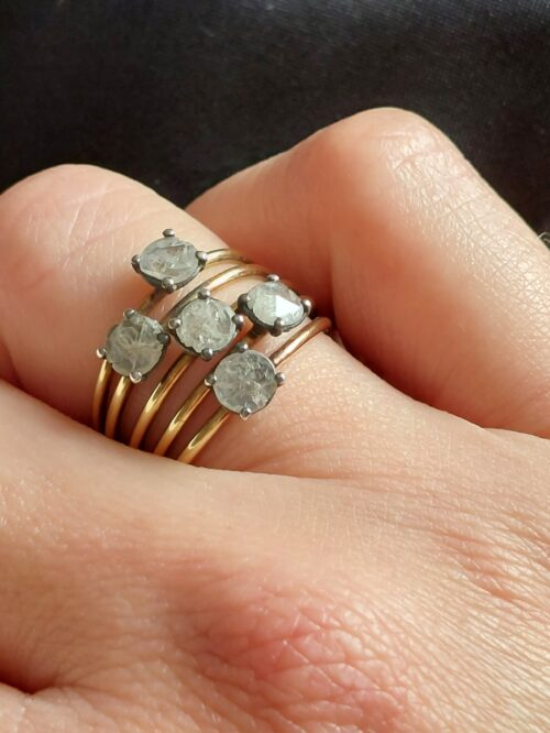 Rough Diamond & 18ct Gold Ring