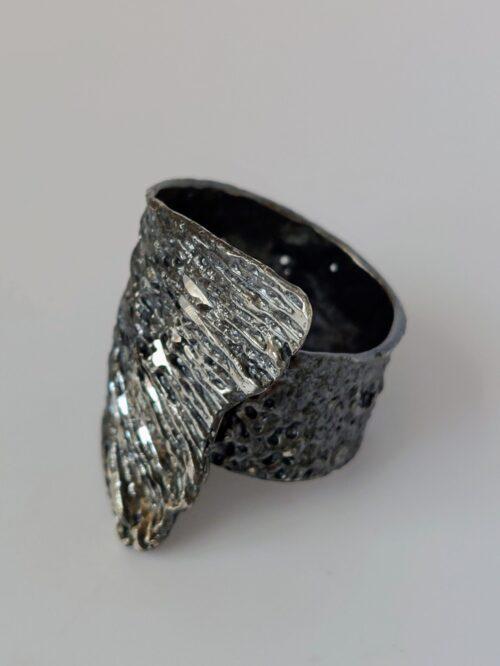 Oxidised, Diamondised Silver Ring