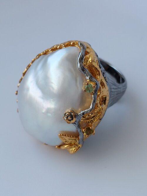 Baroque SouthSea Pearl & Tourmaline