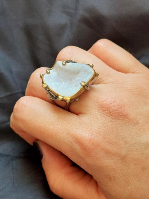 Druzy Mixed-Metal Ring