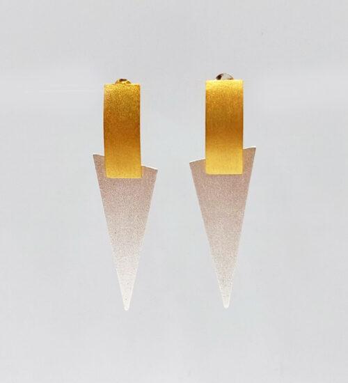silver gold geometric earrings