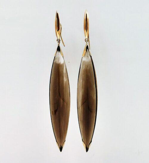 smoky quartz gold earrings