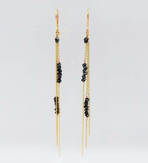 black diamond gold earrings