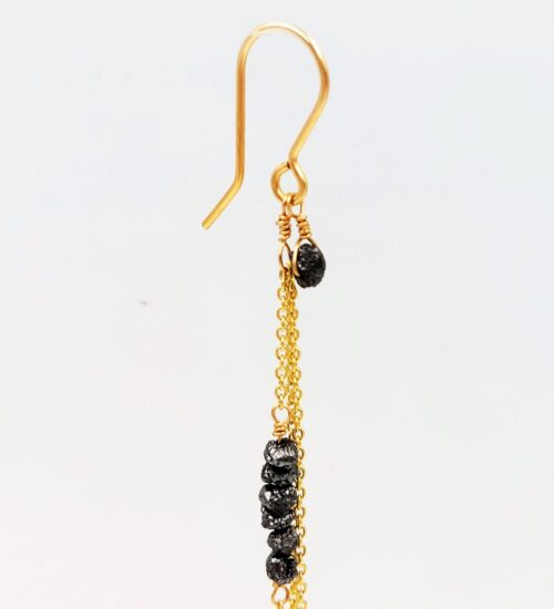 black diamonds gold chain earrings