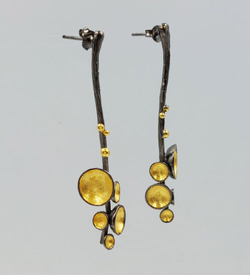 black rhodium gold earrings