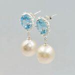 blue topaz and pearl earrings