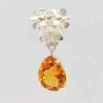 citrine pear cut silver earrings