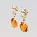 citrine silver pear shaped earrings