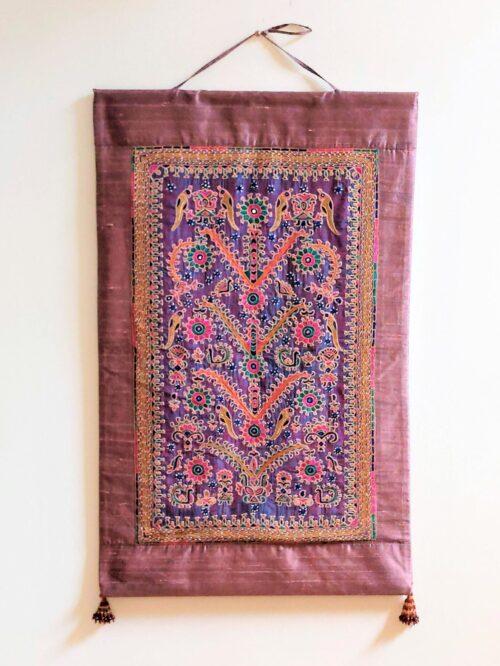 gujarat silk embroidery wall panel