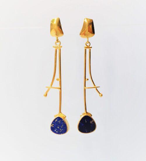 lapis gold earrings