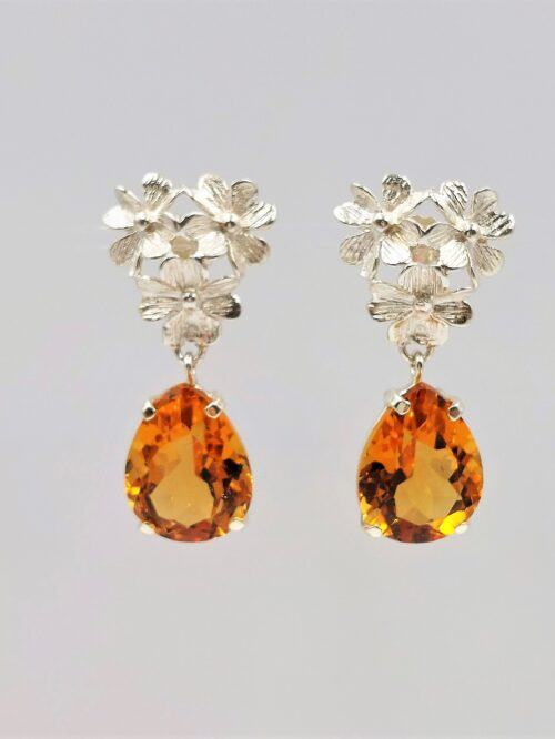 large citrine pear cut earrings