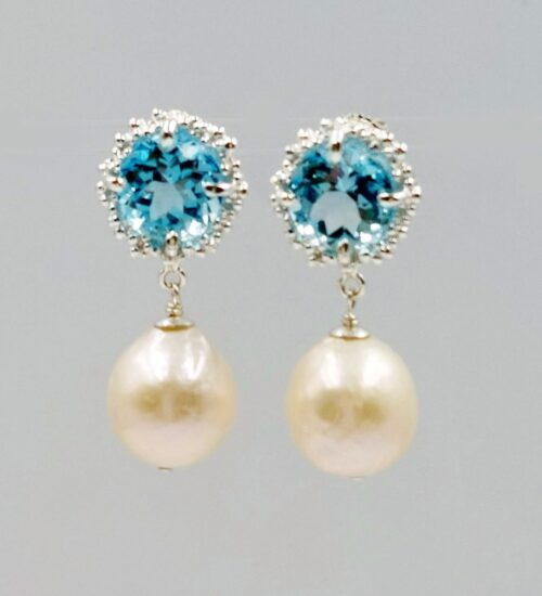 pearl earrings with blue topaz