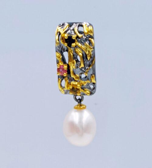 south sea pearl black rhodium earrings
