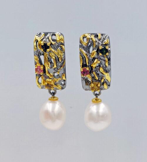 south sea pearl gold earrings