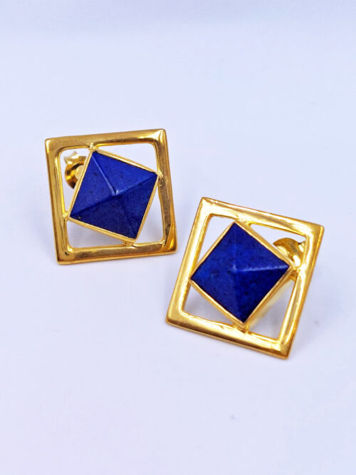 afghan lapis stud gold earrings