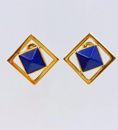 afghanistan lapis gold stud earrings
