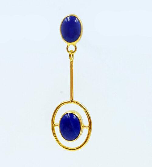 afghan lapis lazuli gold earrings