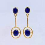 afghan lapis lazuli gold pendulum earrings