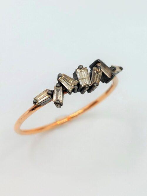 brown diamond baguette cut ring