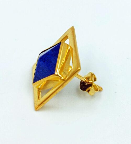 lapis gold stud earrings