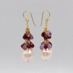 ruby baroque pearls drop earrings